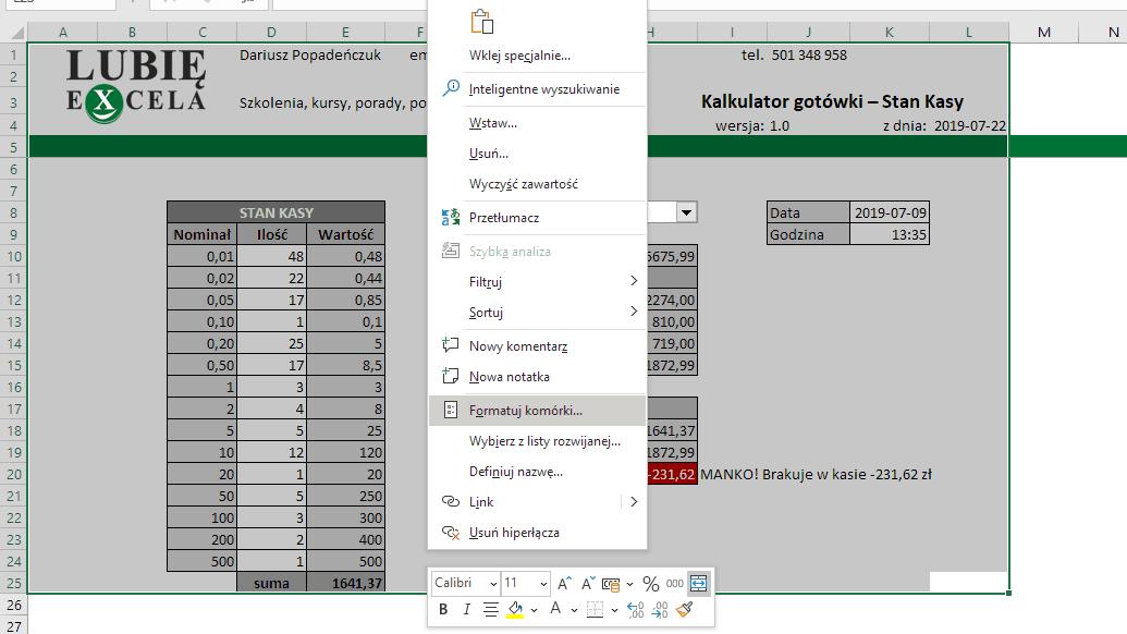 Formatowanie - Excel