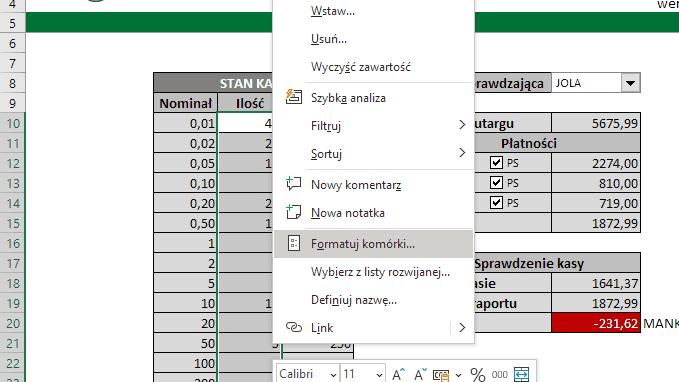 Excel Formatuj komórki