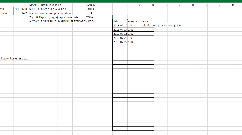 Excel - tabela rozwój pliku