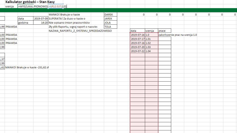 Excel - funkcja WYSZUKAJ PIONOWO