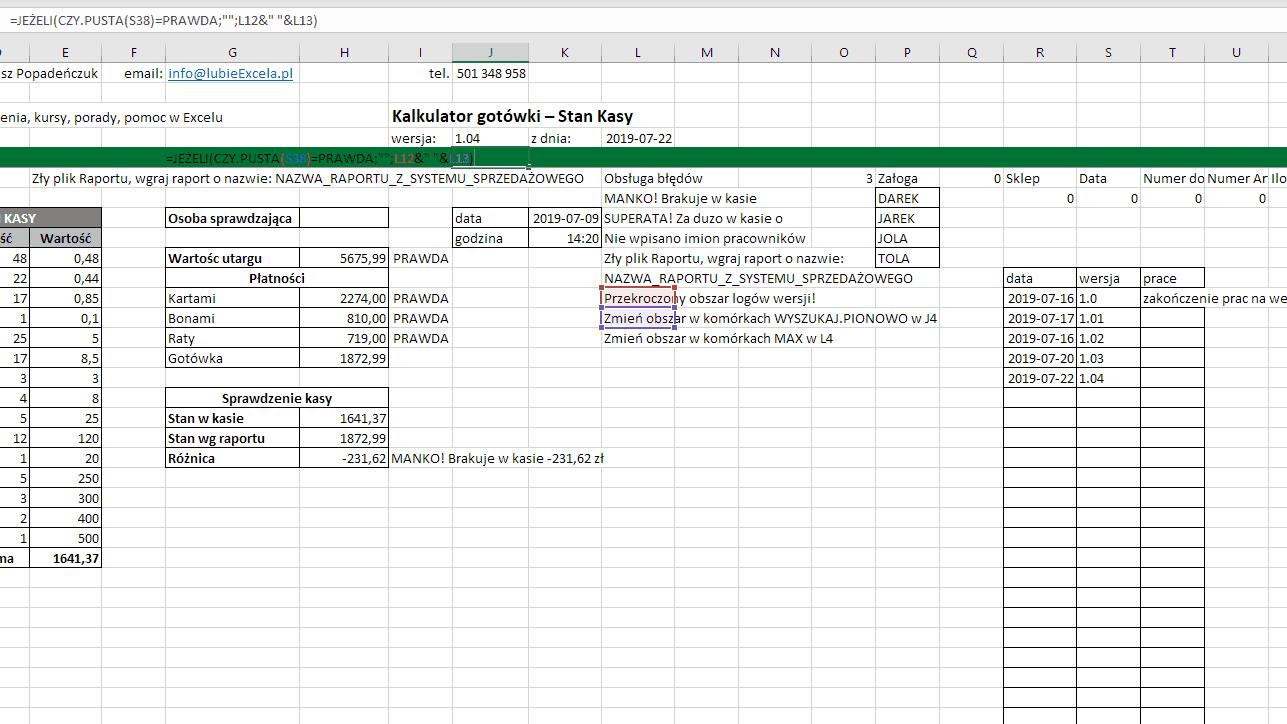 Excel - komunikat o błędzie, funkcja  CZY PUSTA