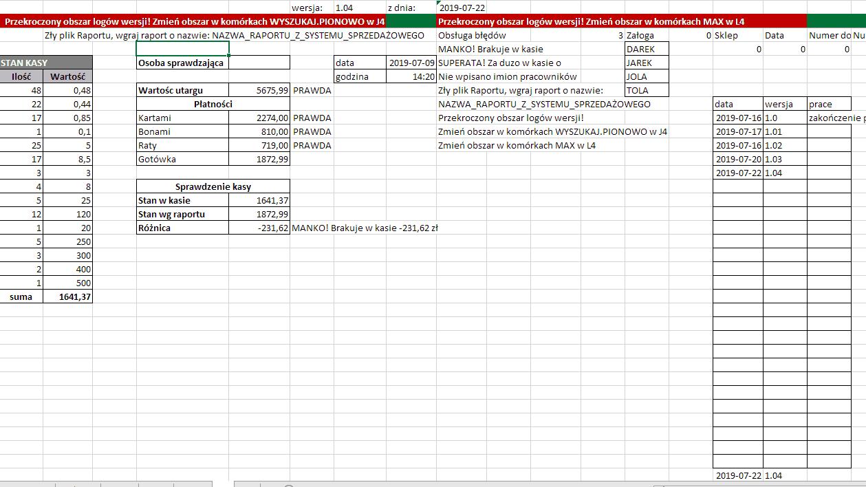 Excel - komunikaty o błędach