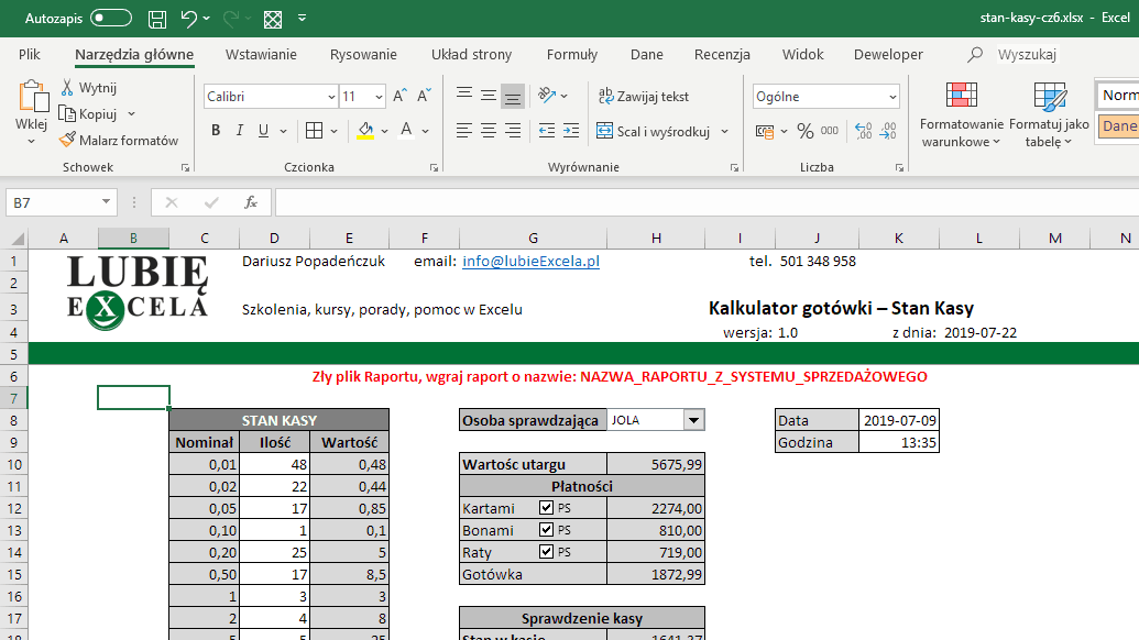 Excel Arkusz STAN KASY