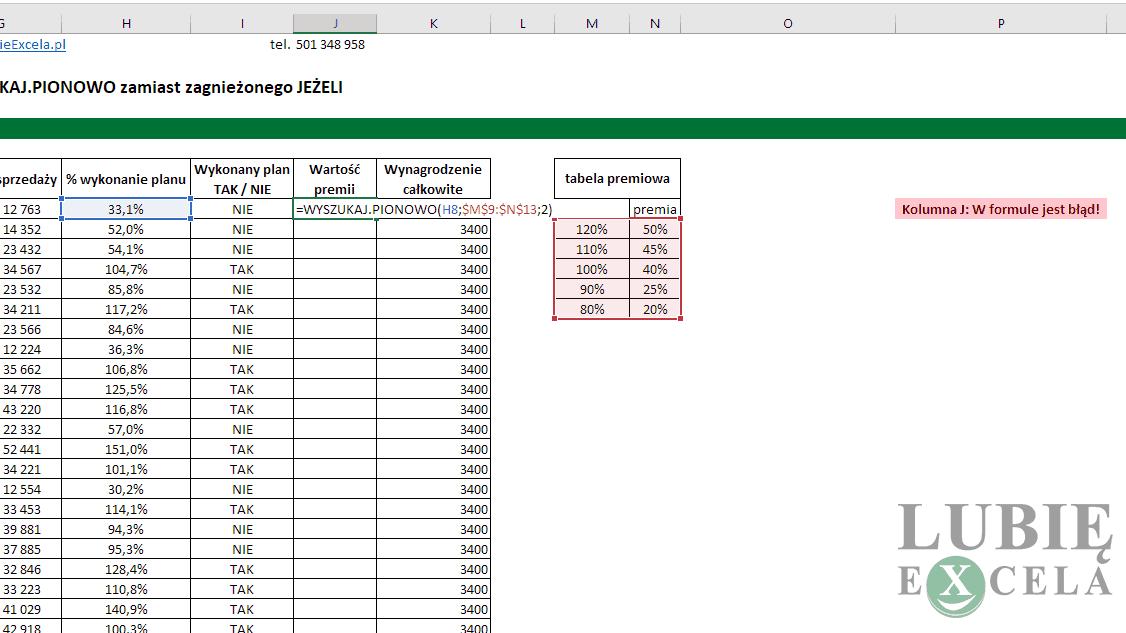 Excel WYSZUKAJ PIONOWO
