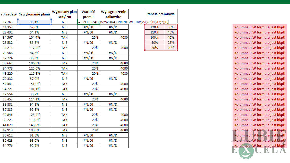 Excel - WYSZUKAJ PIONOWO - jak poprawić błąd