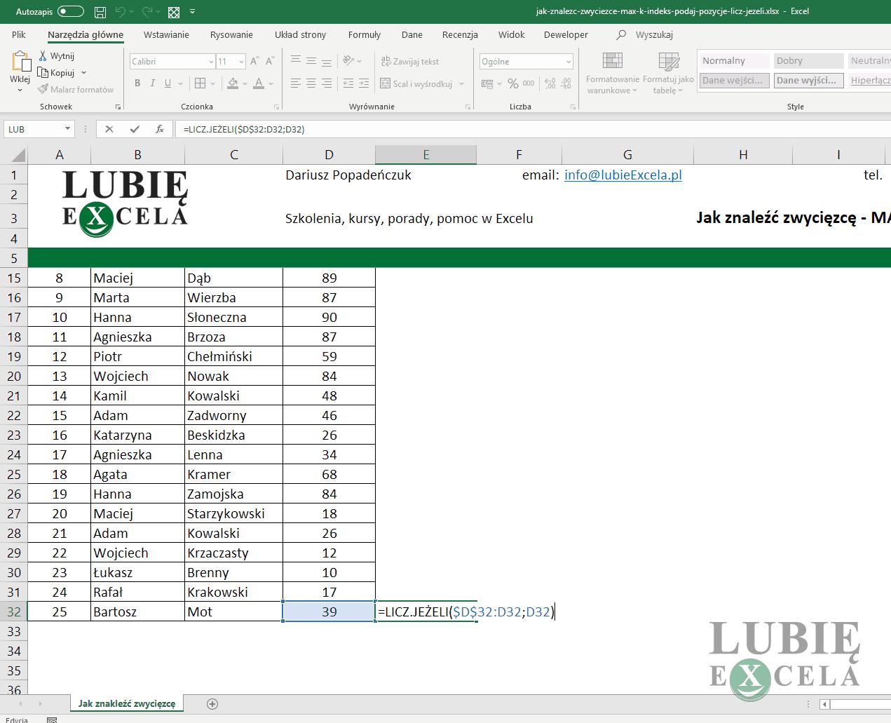 Excel funkcja LICZ JEŻELI