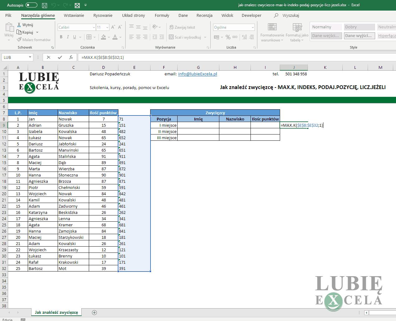 Excel funkcja MAX.K