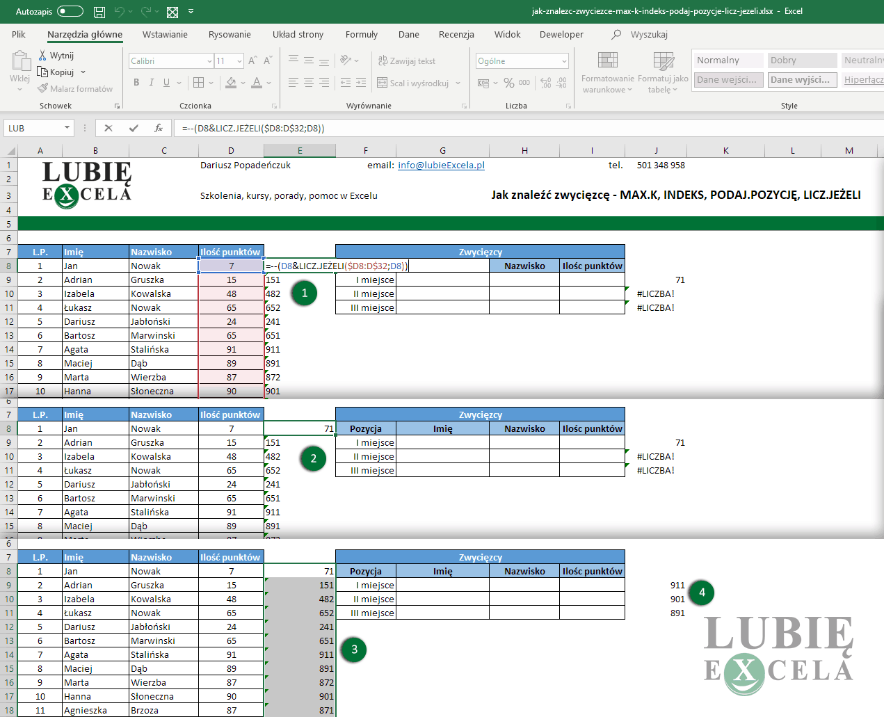 Zamiana formatowania tekstowego komórki na liczbowe wewnątrz formuły