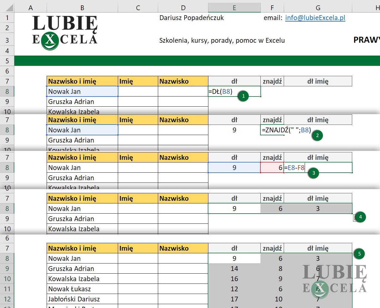 Excel w- wykorzystanie funkcji DŁ, ZNAJDŹ