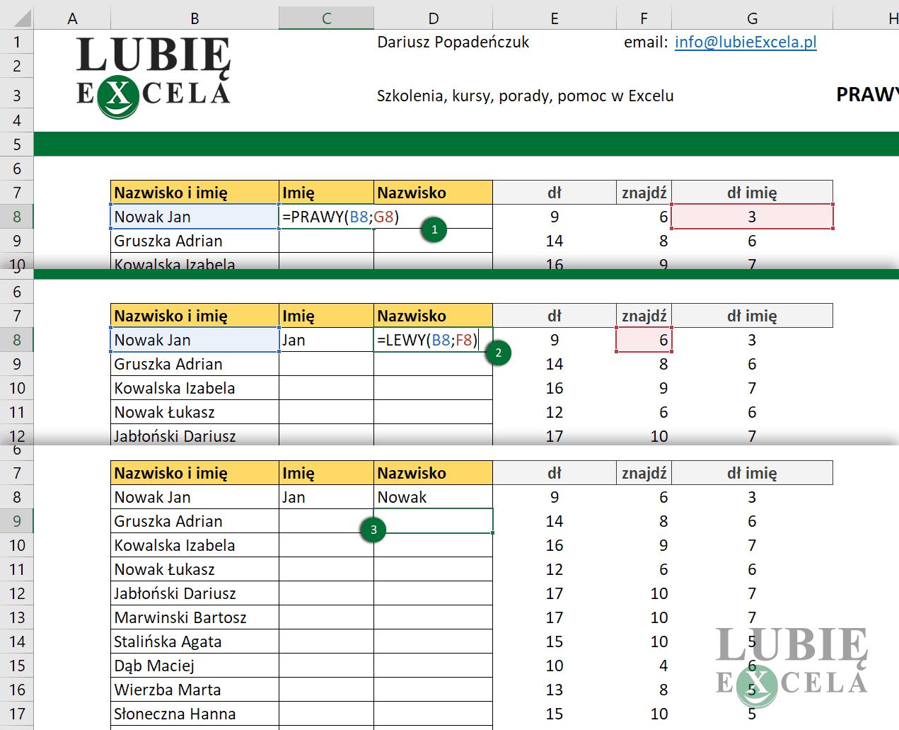 Excel - wykorzystanie funkcji PRAWY i LEWY