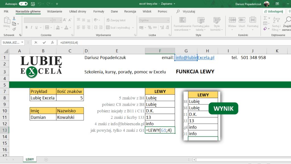 Funkcja LEWY - pobranie z komórki z adresem email 4 znaków