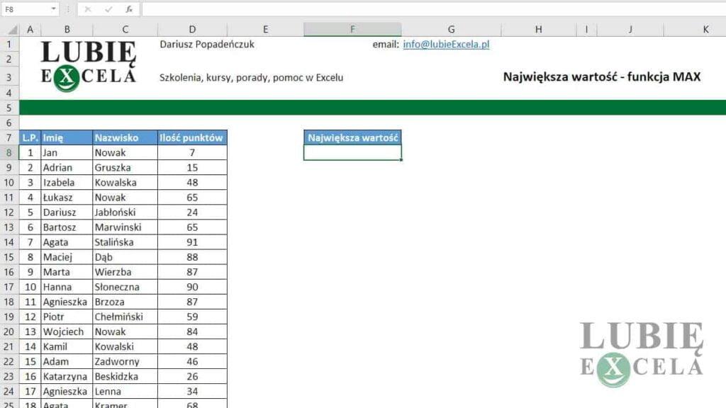 Excel - funkcja MAX()