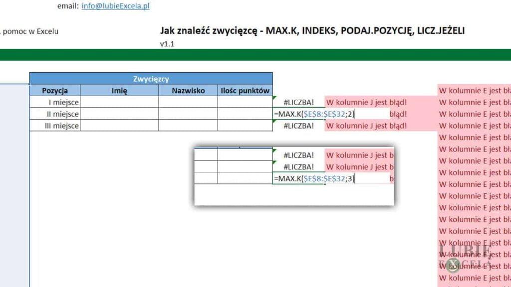 Kopiowanie funkcji MAX.K do poniższych komórek oraz edycja 2 argumentu