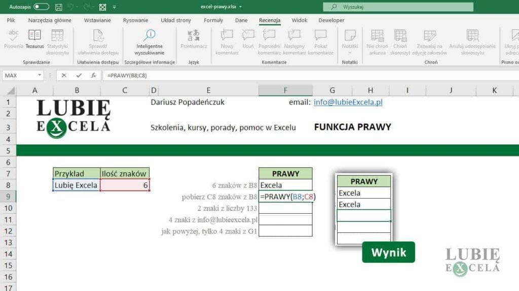 Funkcja PRAWY-drugi argument jako adres