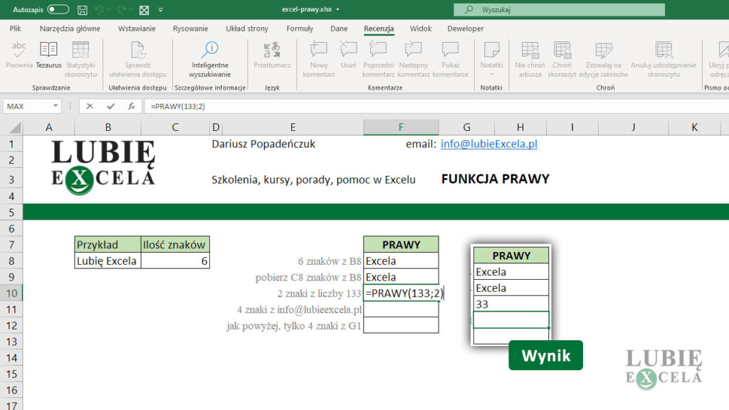 Excel funkcja PRAWY-2 znaki z liczby