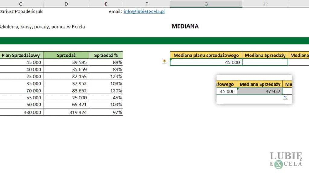 Kopiowanie funkcji MEDIANA z formatowaniem komórki