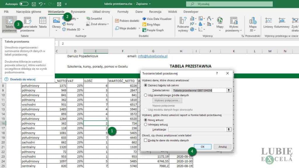 Wybór danych źródłowych i tworzenie Tabeli Przestawnej