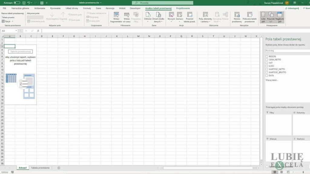 Tabela przestawna bez danych