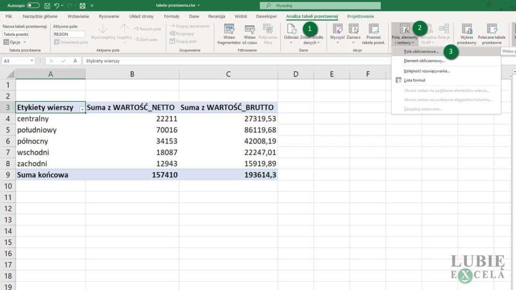 Tabela przestawna - nowe pole obliczeniowe