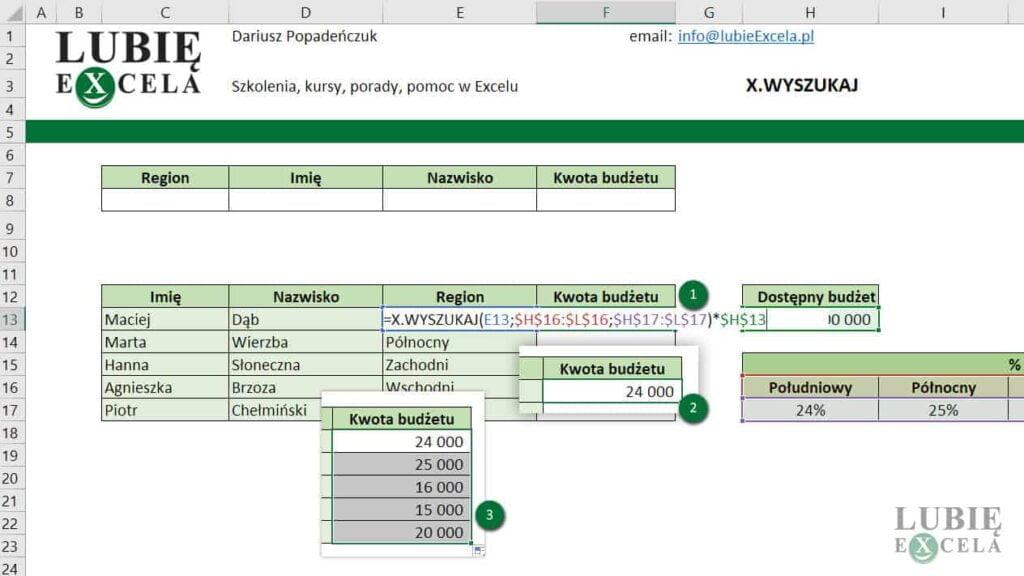 Wyszukiwanie danych z funkcja X.WYSZUKAJ