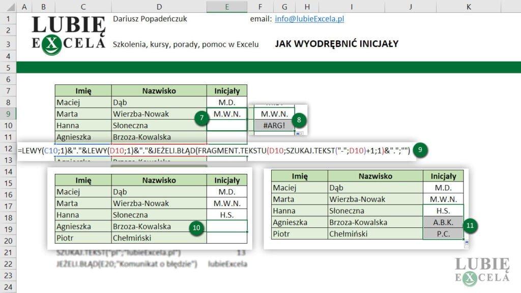 Wyświetlenie inicjałów z kropkami z nazwiskami jedno i  dwuczłonowymi - Excel