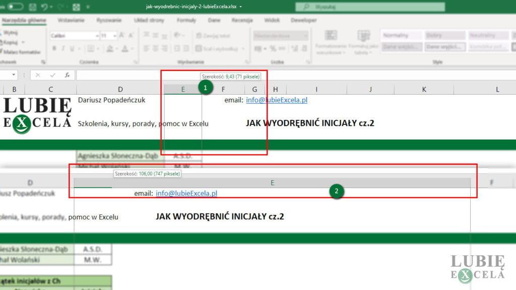 Jak zwiększyć szerokość kolumny w Excelu poprzez przeciąganie