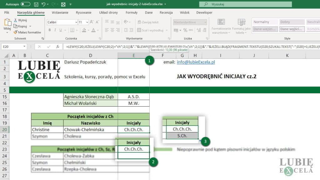 Zmnijeszenie szerkości kolumny oraz skopiowanie formuły