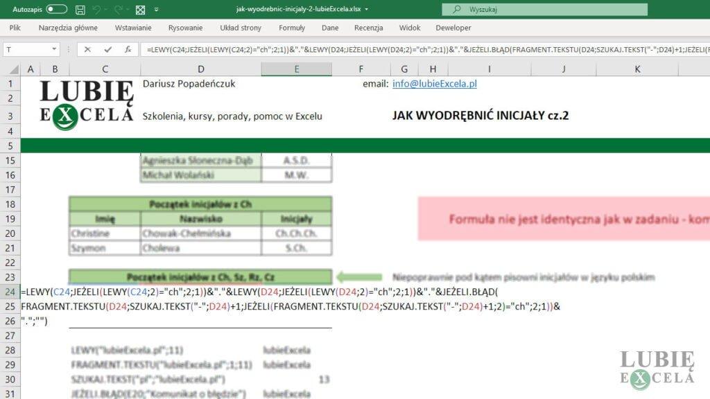 Długa formuła w komórce Excela